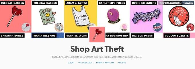 537447ee40c0 Приклади копіювання чужих робіт розміщуються у блозі Shop Art Theft , мета  якого застерегти людей від покупки одягу у недобросовісних виробників.